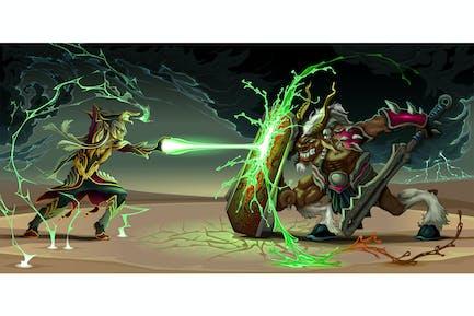 Fighting Scene Between Elf and Beast