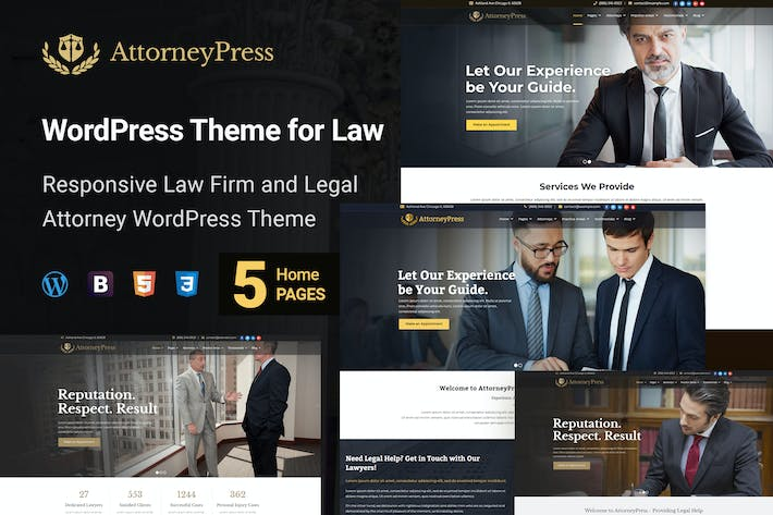 Thumbnail for Attorney Press - Lawyer WordPress Theme