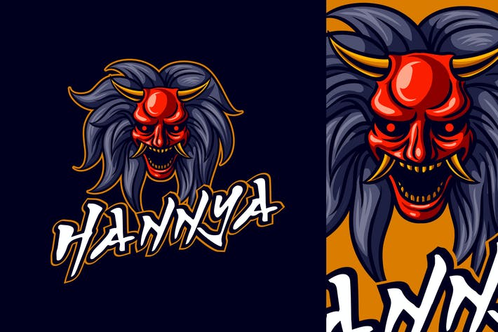 Thumbnail for Japanese Hannya Demon Mask Mascot Logo