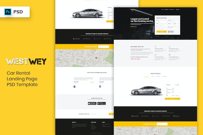 Thumbnail for Car Rental - Landing Page PSD Template