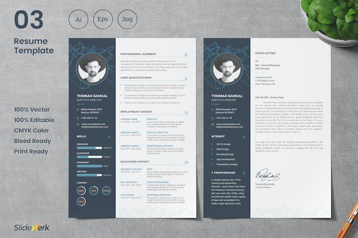 Cover Image For Professional CV Resume Template 03 - Slidewerk