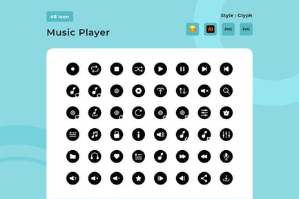 Music Player Glyph Style Icon Pack