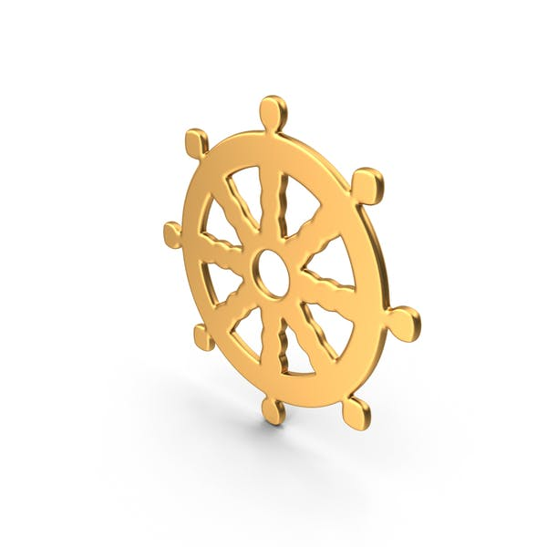 Buddhismus Rad des Dharma Simbol Gold