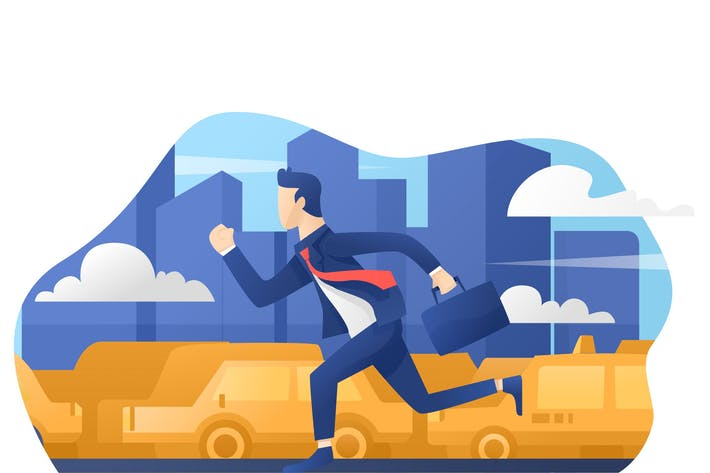 Thumbnail for Late For Work - Vector Illustration