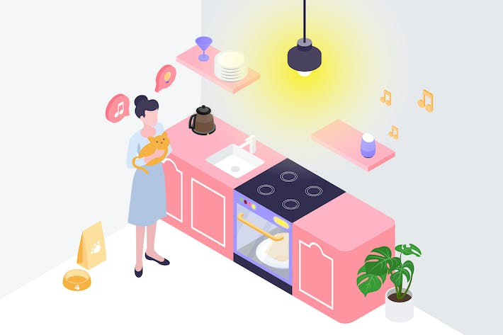 Thumbnail for Automatic Kitchen Isometric Illustration