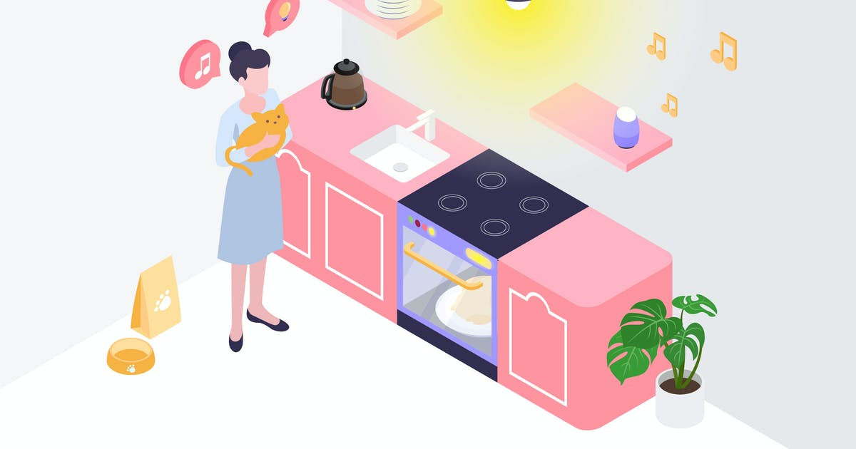 Download Automatic Kitchen Isometric Illustration by angelbi88