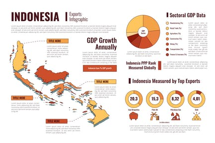 Indonesia Isometric Map - Geographic infographic