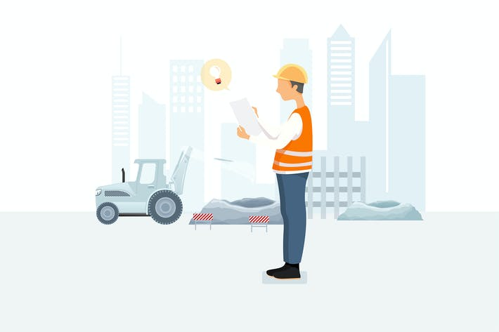 Thumbnail for A construction worker looking at a paper