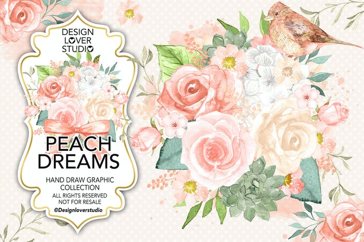 Thumbnail for Watercolor PEACH DREAMS design