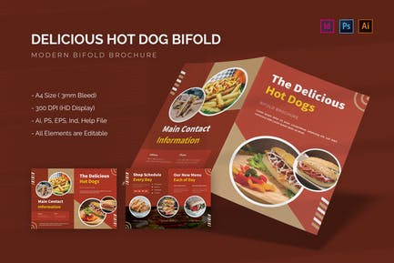 The Delicous Hot Dog - Bifold Brochure