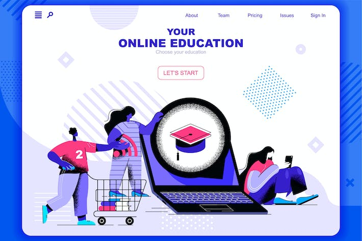 Online Education Flat Concept Landing Page Header