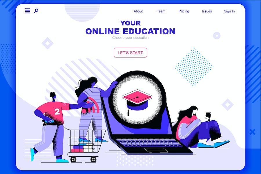 Online Education Flat Concept Landing Page Header