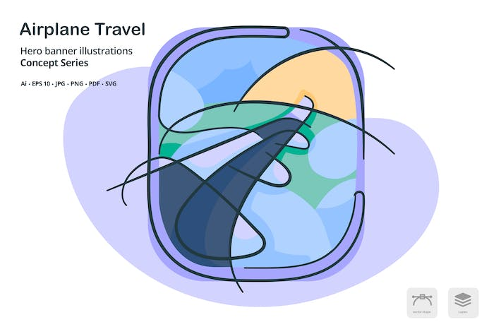 Thumbnail for Airplane Travel Vector Illustration