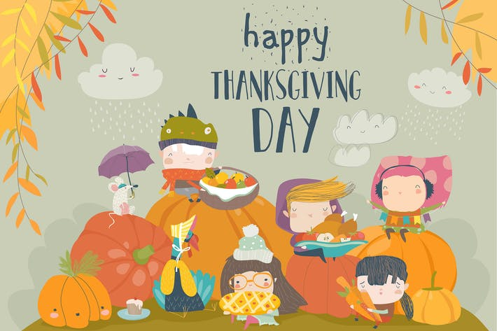 Thumbnail for Cartoon children celebrating Thanksgiving Day with