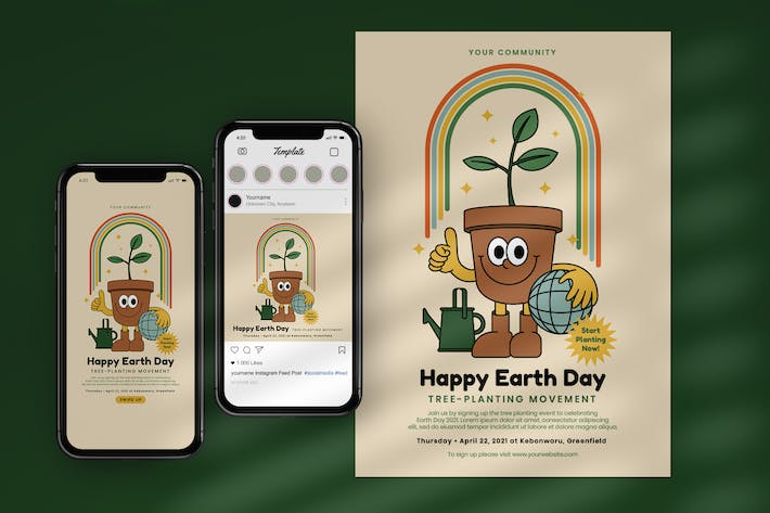 Earth Day Plant Tree Flyer & Instagram