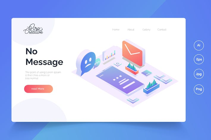 Thumbnail for No Message - Isometric Landing Page