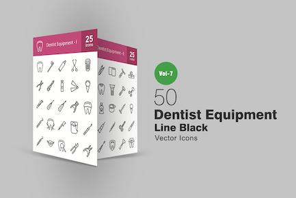 50 Dentist Equipment Line Icons