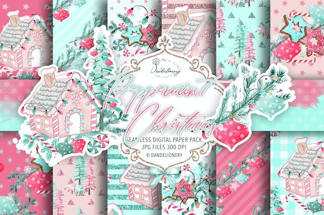 Peppermint Christmas digital paper pack