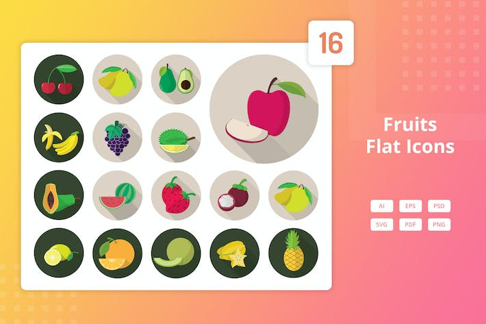 Thumbnail for Fruits - Flat Icons