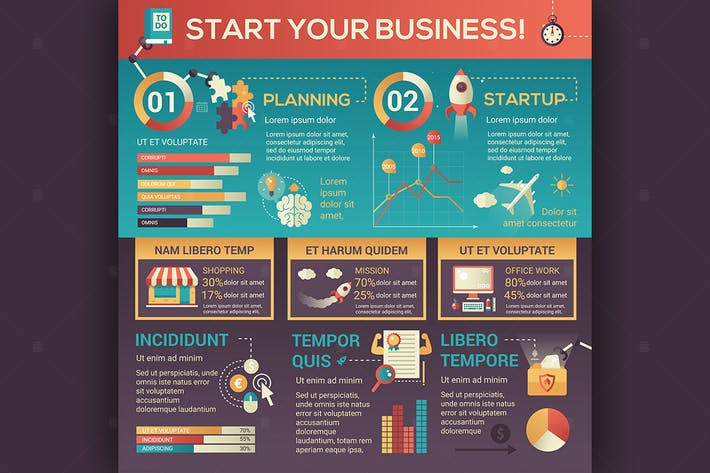 Thumbnail for Start Your Business - flat design style poster
