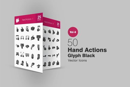 50 Hand Actions Glyph Icons
