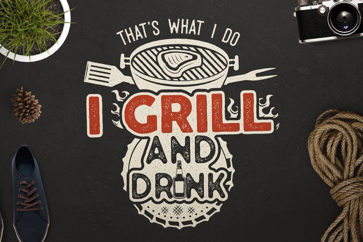 Thumbnail for BBQ Print Design for T-Shirt. Retro Barbecue SVG
