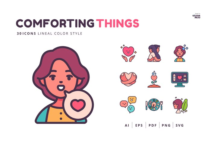 30 Icons Comforting Things Lineal Color Style