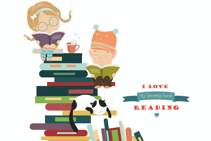 Thumbnail for Funny kids reading books. Vector isolated