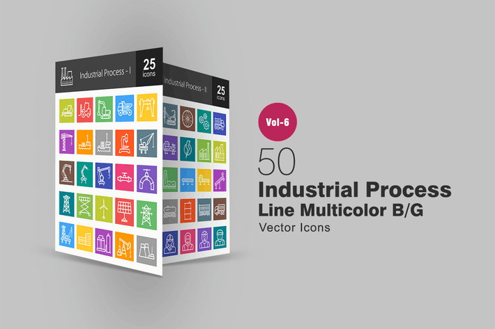 Thumbnail for 50 Industrial Process Line Multicolor B/G Icons