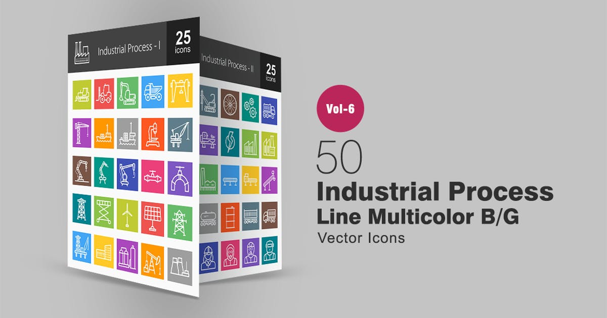 Download 50 Industrial Process Line Multicolor B/G Icons by IconBunny