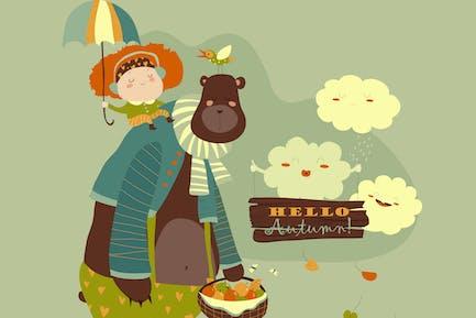 Mädchen und Bär gehen unter einem Regenschirm. Vektor