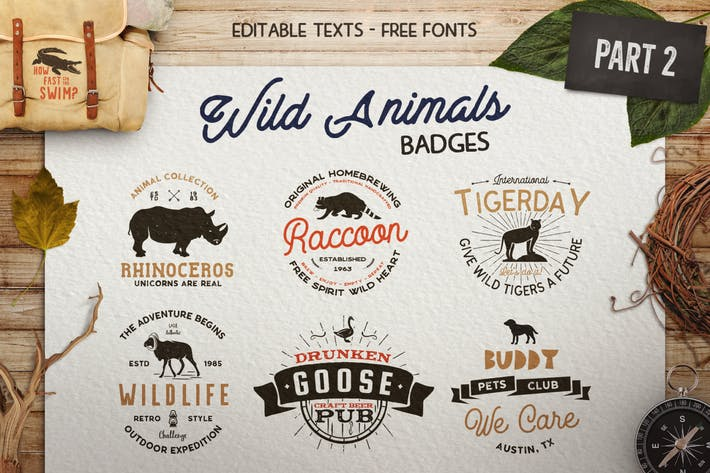 Thumbnail for 12 Wild Animals Badges Part 2 / Travel Retro Logos