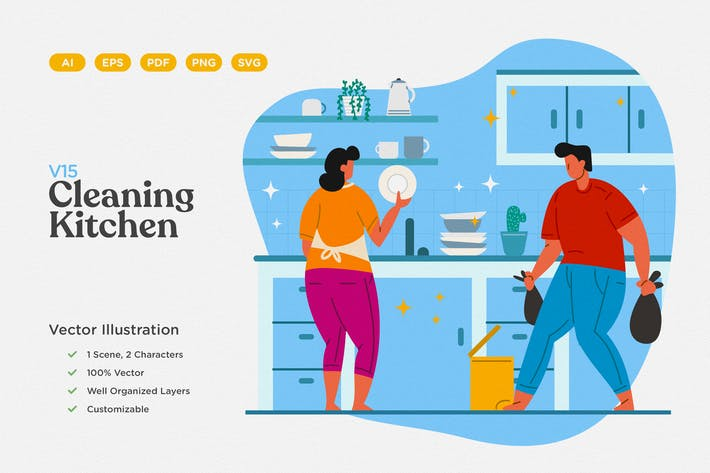 Thumbnail for Cleaning Kitchen Flat Illustration