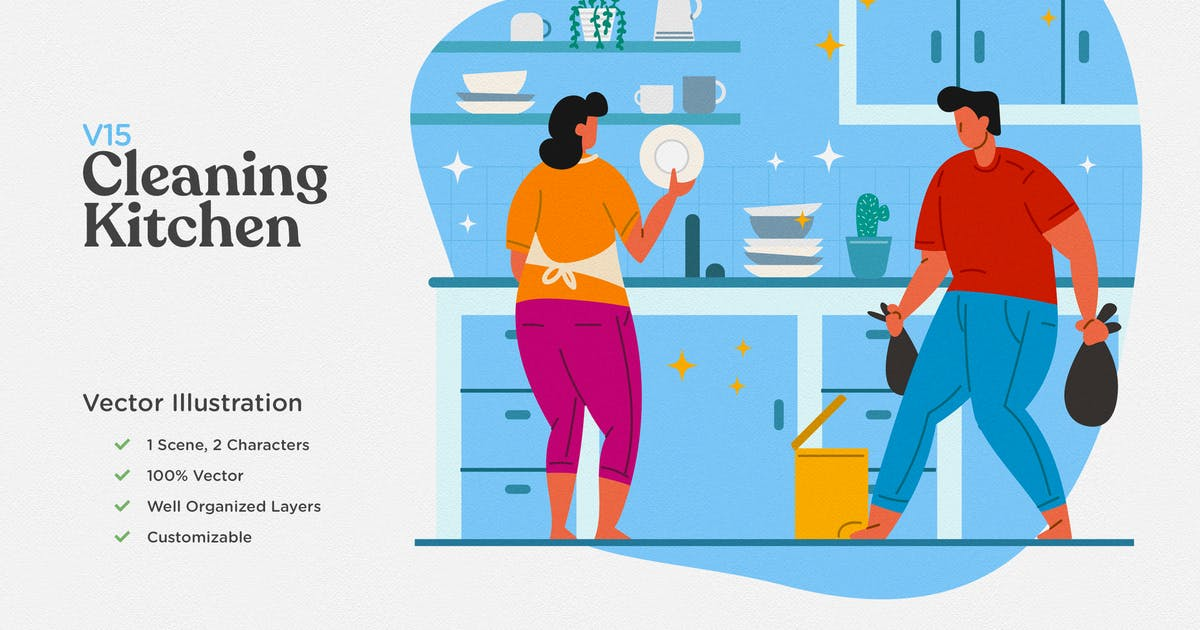 Download Cleaning Kitchen Flat Illustration by telllu