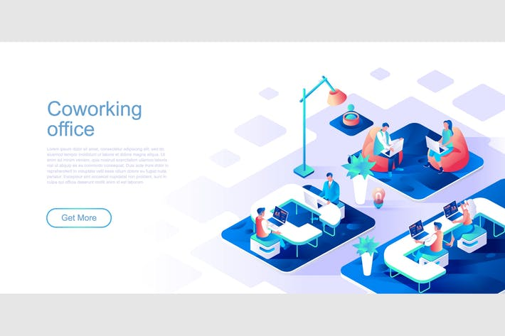 Thumbnail for Coworking Office Isometric Flat Concept Header