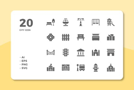 20 City Icons (Solid)