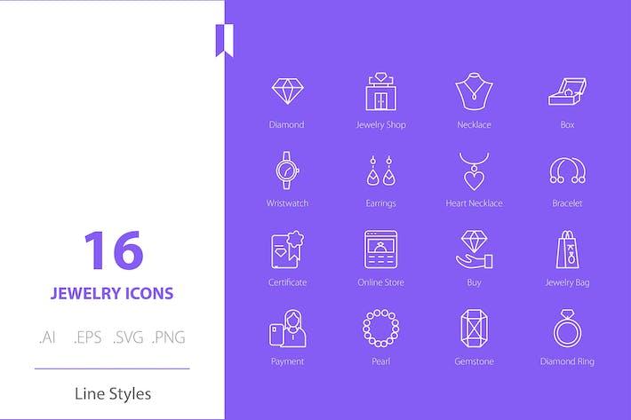 Jewelry Icon Set Line Styles