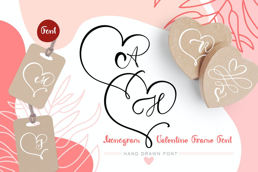 Monogram Heart Flourish Font