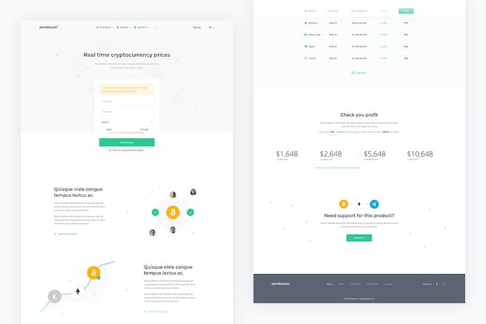 Thumbnail for Alertbitcoin — Crypto Landing Page PSD Template
