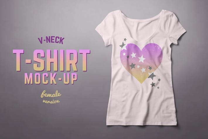 Cover Image For V-neck T-shirt Mock-up Female Version