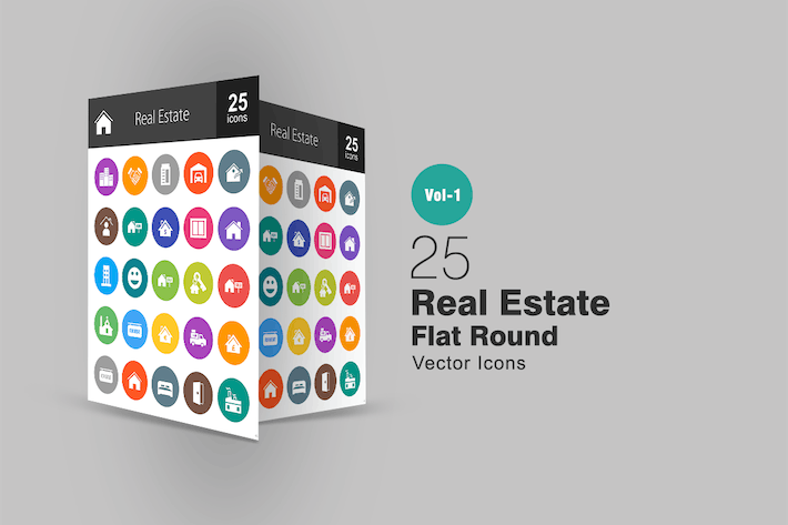 Thumbnail for 25 Real Estate Flat Round Icons