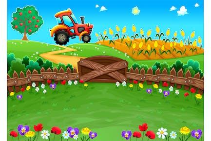 landschaft mit traktor und cornfield