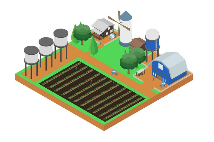 Thumbnail for Farm Isometric Illustration