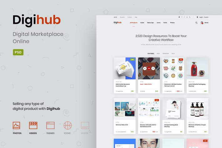 Thumbnail for Digihub - Digital Marketplace Online PSD Template
