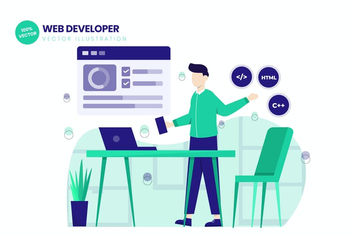 Thumbnail for Web Developer Flat Vector Illustration