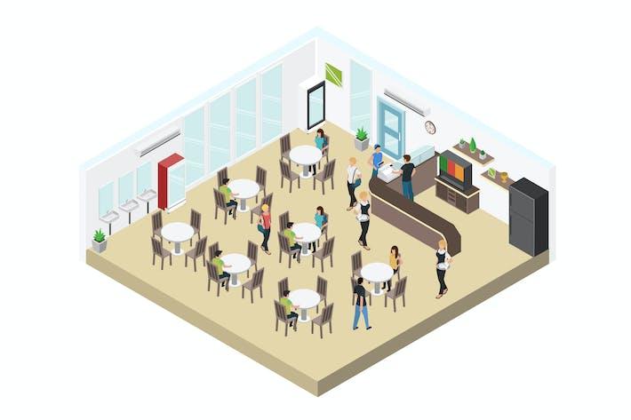 Thumbnail for Cafetaria Isometric Illustration