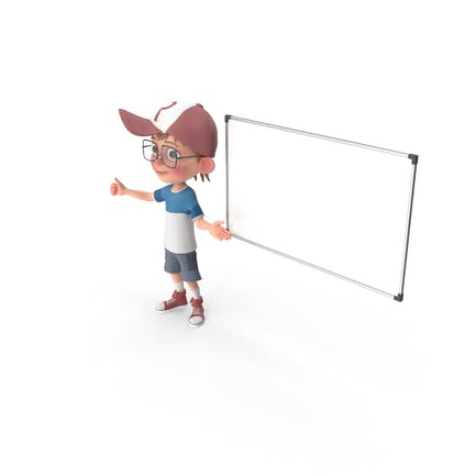 Cartoon Junge bei Präsentation
