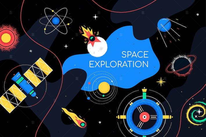 Thumbnail for Исследование космоса - иллюстрация в стиле плоского дизайна