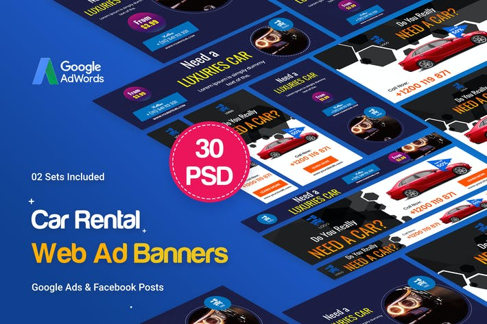 Cover Image For Car Rental Banners Ad - 30 PSD [02 Sets]