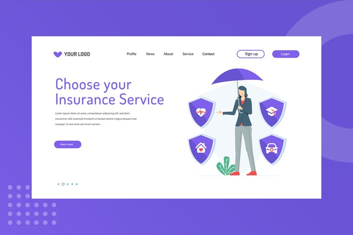 Thumbnail for Choose your Insurance Service Landing Page